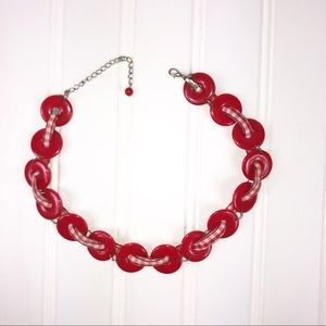 Vintage Red Beads and red/white Gingham Necklace